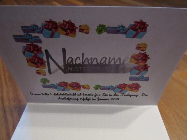 Geschenkkarte für ein Edelstahlschild